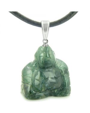 Good Luck Charm Happy Sitting Buddha Amulet Green Agate Gemstone Magic Powers Pendant Cord Necklace