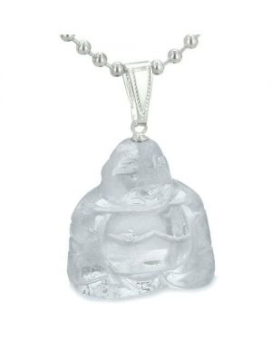 Good Luck Charm Happy Sitting Buddha Amulet Crystal Quartz Gemstone Protection Pendant Necklace