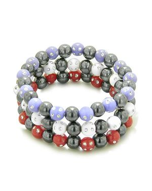 Amulets Set 3 Individual Simulated Hematite Magnetic Bracelets Red Purple White Sparkling Crystals