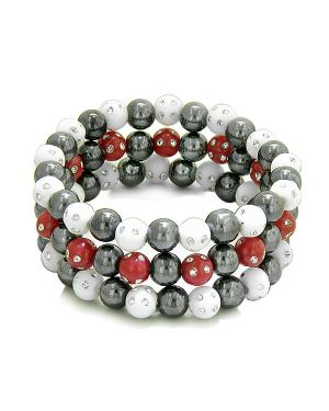 Amulets Set 3 Individual Simulated Hematite Magnetic Bracelets White Red Sparkling Beads Crystals
