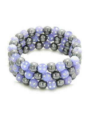 Amulets Set of 3 Individual Simulated Hematite Magnetic Bracelets in Purple Sparkling Crystals