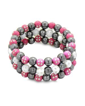 Amulets Set of 3 Individual Simulated Hematite Magnetic Bracelets White Hot Pink Sparkling Crystals