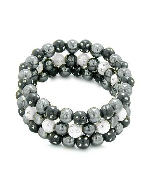 Amulets Set of 3 Individual Simulated Hematite Magnetic Bracelets in White Black Sparkling Crystals