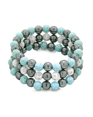 Amulets Set 3 Individual Simulated Hematite Magnetic Bracelets White Blue Sparkling Beads Crystals
