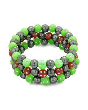 Amulets Set 3 Individual Simulated Hematite Magnetic Bracelets Green Red Sparkling Beads Crystals