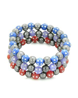 Amulets Set 3 Simulated Hematite Magnetic Bracelets Red Purple Midnight Blue Sparkling Crystals