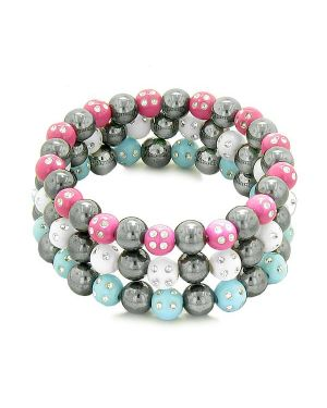 Amulets Set 3 Simulated Hematite Magnetic Bracelets White Blue Hot Pink Sparkling Beads Crystals