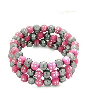 Amulets Set of 3 Individual Simulated Hematite Magnetic Bracelets in Hot Pink Sparkling Crystals