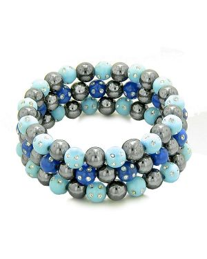 Amulets Set 3 Simulated Hematite Magnetic Bracelets Sky Blue Midnight Blue Sparkling Crystals