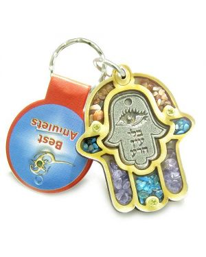 Holy Land Genuine Amulet Evil Eye Protection Reflection Hamsa Blessing Wooden Keychain Lucky Charm