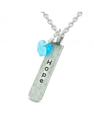 Handcrafted Inspirational Hope Tag Cute Sky Blue Faceted Heart Lucky Charm Crystal 22 Inch Necklace