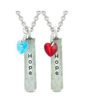 Handcrafted Inspirational Hope Tag Royal Red Sky Blue Heart Crystal Charms Love Couples BFF Set Necklace