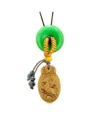 Fortune Horse Magic Car Charm Home Decor Green Quartz Lucky Coin Donut Protection Powers Amulet