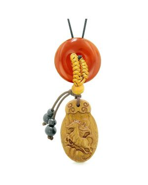 Fortune Horse Magic Car Charm or Home Decor Carnelian Lucky Coin Donut Protection Powers Amulet