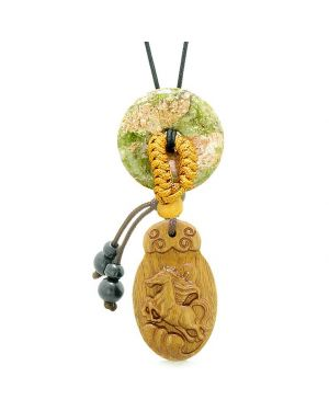 Fortune Horse Magic Car Charm or Home Decor Unakite Lucky Coin Donut Protection Powers Amulet