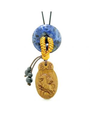 Fortune Horse Magic Car Charm or Home Decor Sodalite Lucky Coin Donut Protection Powers Amulet