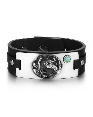 Brave Mustang Lucky Horse Shoe Amulet Tag Green Quartz Gemstone Adjustable Black Leather Bracelet