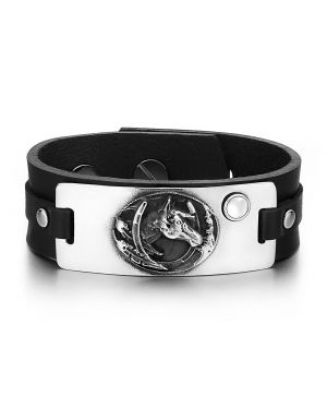 Brave Mustang Lucky Horse Shoe Amulet Tag White Simulated Cats Eye Black Leather Bracelet