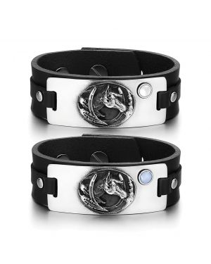 Brave Mustang Lucky Horse Shoe Love Couples White Blue Simulated Cats Eye Black Leather Bracelets