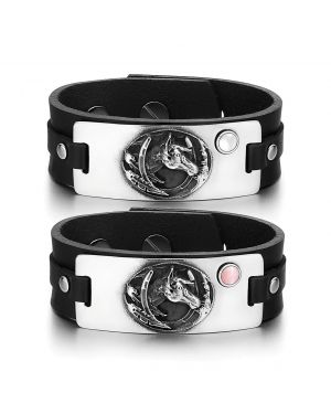 Brave Mustang Lucky Horse Shoe Love Couples White Pink Simulated Cats Eye Black Leather Bracelets