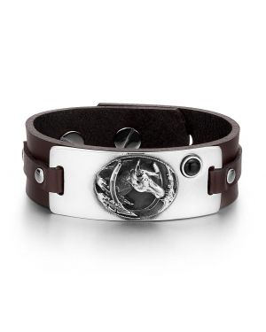 Brave Mustang Lucky Horse Shoe Amulet Tag Simulated Black Onyx Dark Brown Leather Bracelet