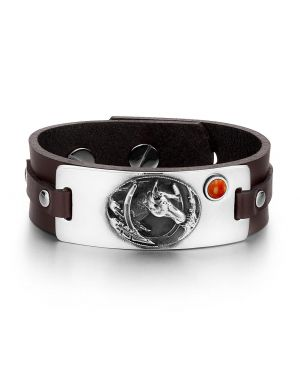 Brave Mustang Lucky Horse Shoe Amulet Tag Red Jasper Gemstone Dark Brown Leather Bracelet
