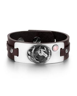 Brave Mustang Lucky Horse Shoe Amulet Tag Pink Simulated Cats Eye Adjustable Brown Leather Bracelet