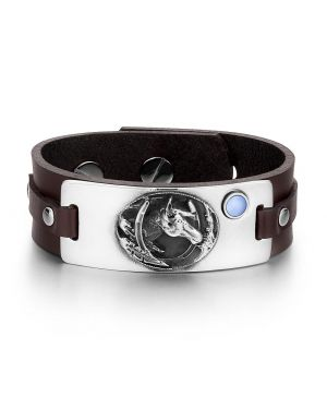 Brave Mustang Lucky Horse Shoe Amulet Tag Blue Simulated Cats Eye Adjustable Brown Leather Bracelet