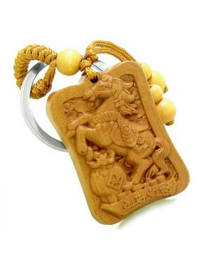 Amulet Fortune Horse Money Bag Lucky Coins Magic Powers Charms Feng Shui Keychain Blessing