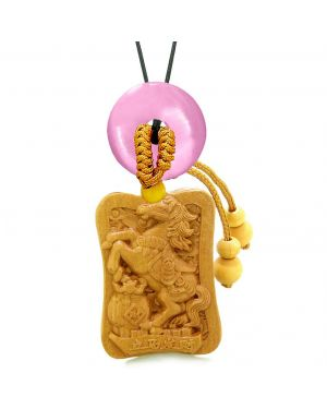 Fortune Horse Money Bag Lucky Coin Car Charm Home Decor Pink Simulated Cats Eye Donut Amulet