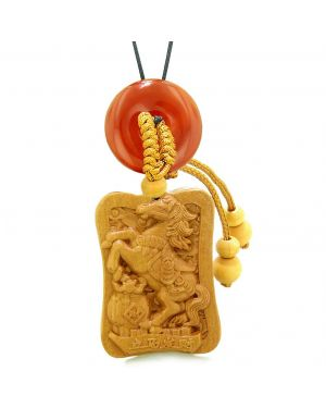 Fortune Horse Money Bag Lucky Coin Car Charm or Home Decor Carnelian Donut Protection Powers Amulet