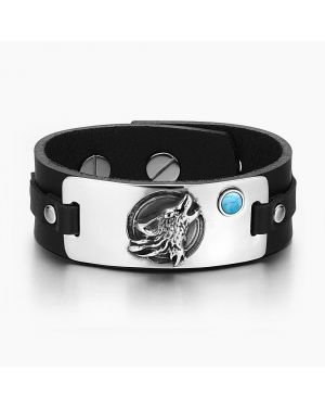 Howling Wolf Wild Moon Courage Amulet Tag Simulated Turquoise Adjustable Black Leather Bracelet