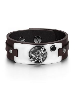 Howling Wolf Wild Moon Courage Amulet Tag Simulated Black Onyx Dark Brown Leather Bracelet