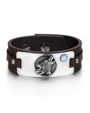 Howling Wolf Wild Moon Courage Amulet Tag Blue Simulated Cats Eye Dark Brown Leather Bracelet