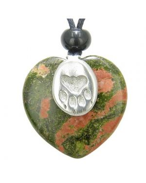 Lucky Wolf Paw Charm Puffy Heart Amulet Unakite Gemstone Crystal Pendant Necklace