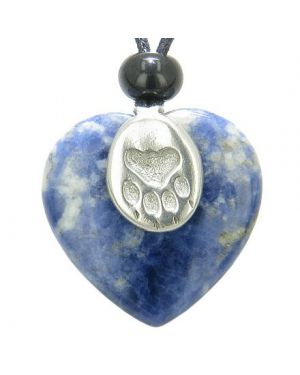 Lucky Wolf Paw Charm Puffy Heart Amulet Sodalite Gemstone Crystal Pendant Necklace