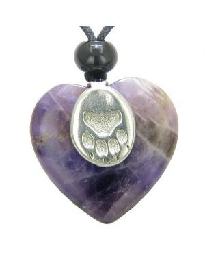 Lucky Wolf Paw Charm Puffy Heart Amulet Amethyst Gemstone Crystal Pendant Necklace