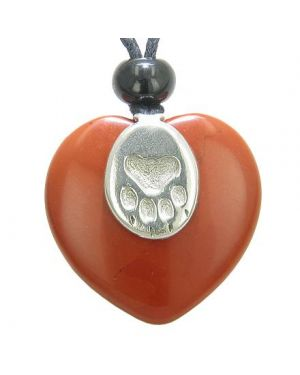 Lucky Wolf Paw Charm Puffy Heart Amulet Red Jasper Gemstone Crystal Pendant Necklace