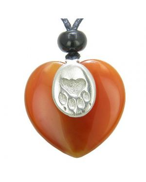 Lucky Wolf Paw Charm Puffy Heart Amulet Carnelian Gemstone Crystal Pendant Necklace