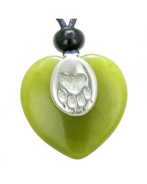 Lucky Wolf Paw Charm Puffy Heart Amulet Green Jade Gemstone Crystal Pendant Necklace