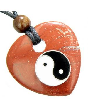 Heart Believe Talisman Lucky Ying Yang Red Jasper Gem Necklace
