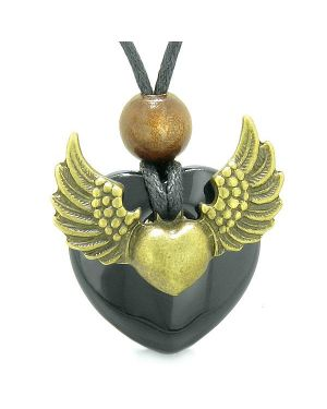 Angel Wings Double Lucky Heart Donut Amulet Magic Powers Black Agate Pendant Necklace
