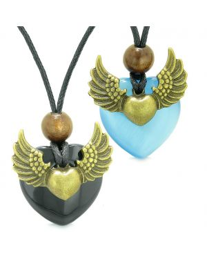 Angel Wings Love Couple Best Friends Heart Yin Yang Amulet Agate Blue Simulated Cats Eye Necklaces