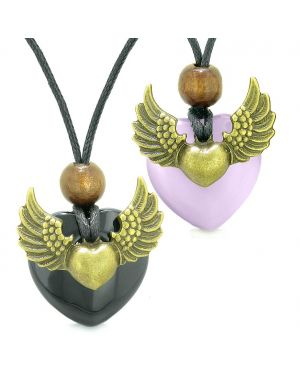 Angel Wings Love Couple Best Friend Heart Yin Yang Amulet Agate Purple Simulated Cats Eye Necklaces