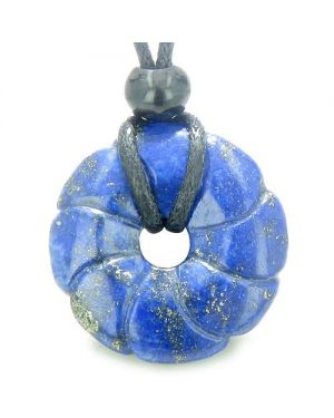 Lapis Lazuli Magic Celtic Flower Lucky Donut Good Luck Powers Amulet Gemstone Pendant Necklace