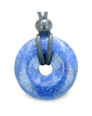 Lapis Lazuli Lucky Donut Good Luck Powers Magic Amulet Gemstone Pendant on Adjustable Cord Necklace