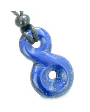 Lapis Lazuli Infinity Magic Powers Knot Lucky Charm Amulet Gemstone Pendant Necklace