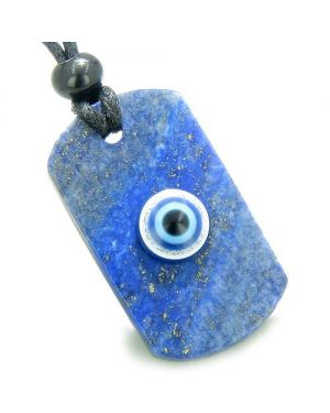 Lapis Lazuli Dog Tag Magic Powers Evil Eye Protection Lucky Charm Amulet Gemstone Pendant Necklace