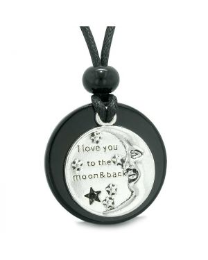 I Love You to the Moon and Back Magic Good Luck Medallion Amulet Black Agate Adjustable Necklace