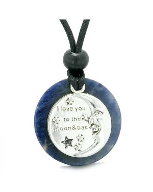 I Love You to the Moon and Back Magic Good Luck Medallion Amulet Sodalite Adjustable Necklace